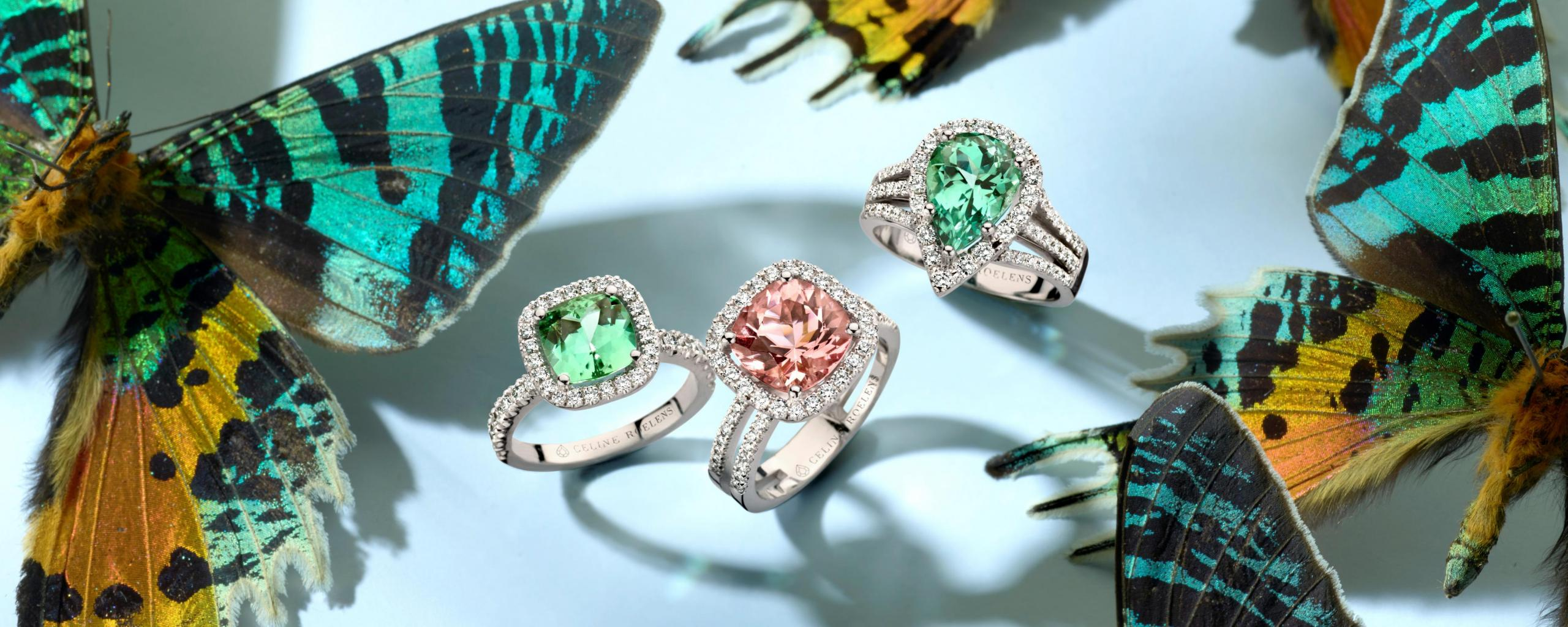 Butterflies and 3 rings in green and pink tourmaline