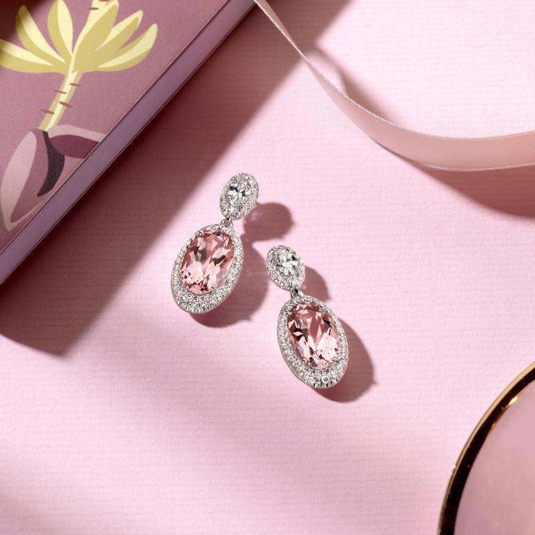 Morganite earrings with props
