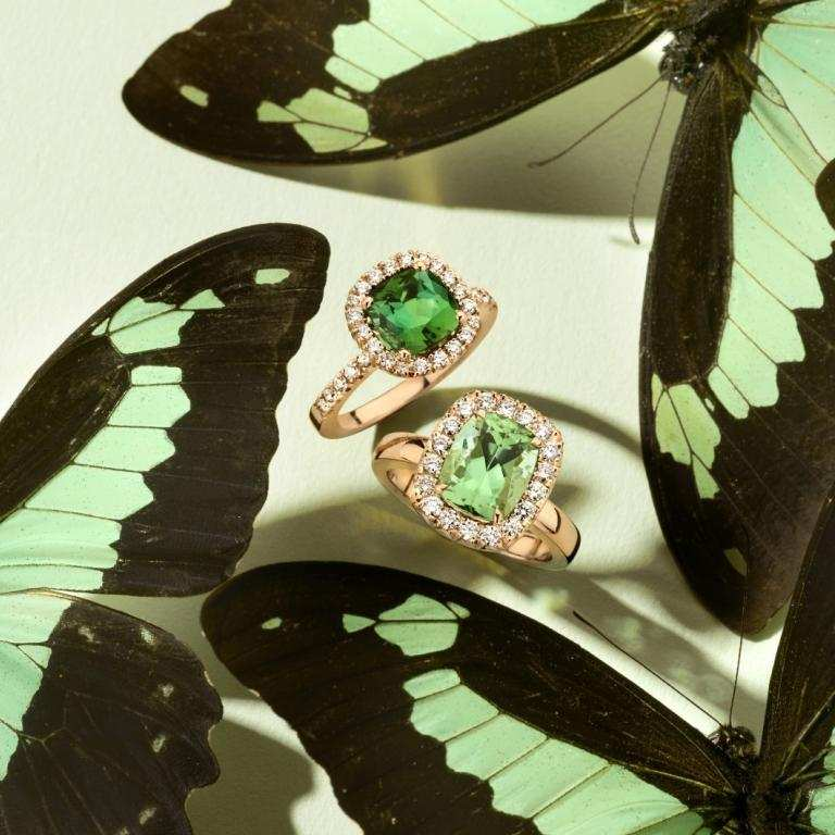 Green tourmaline rings with butterflies