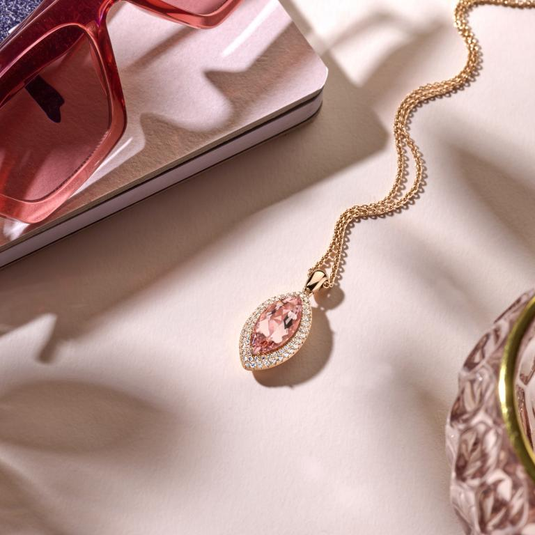 EMMANUELLE pendant peach morganite