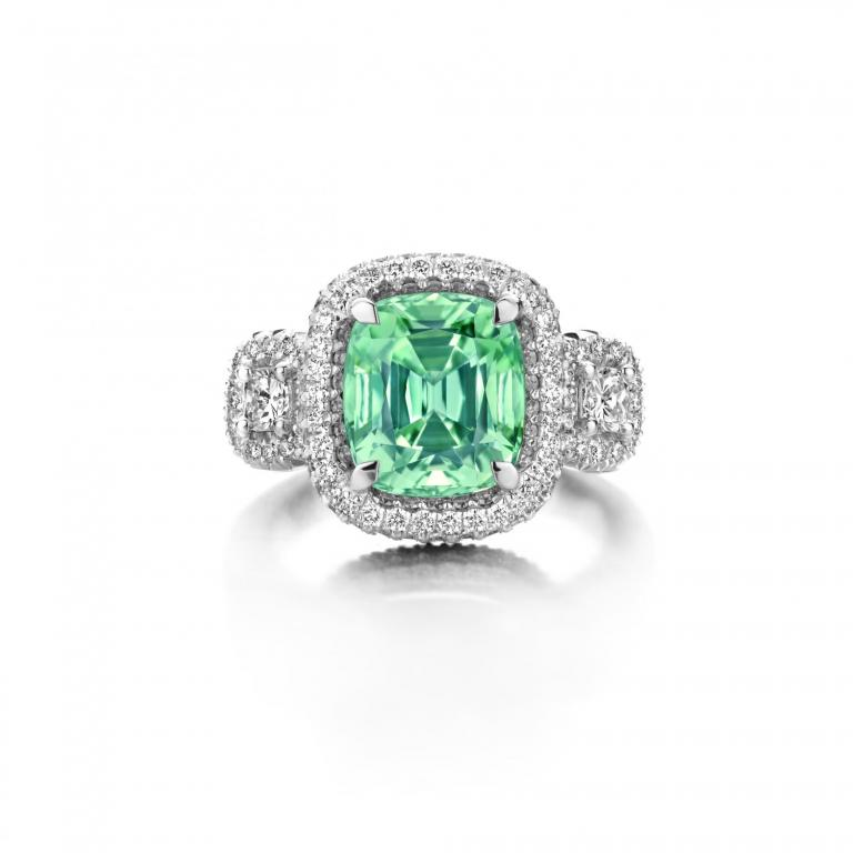 EMMANUELLE RING GREEN TOURMALINE AND WHITE DIAMONDS