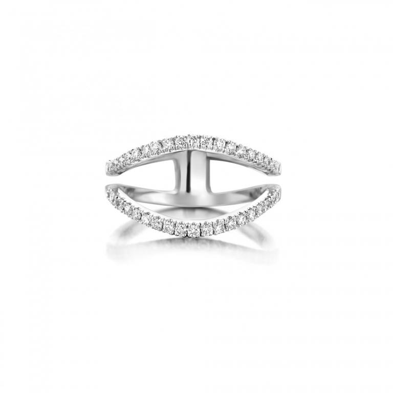 FLOW ring 2 row white diamonds