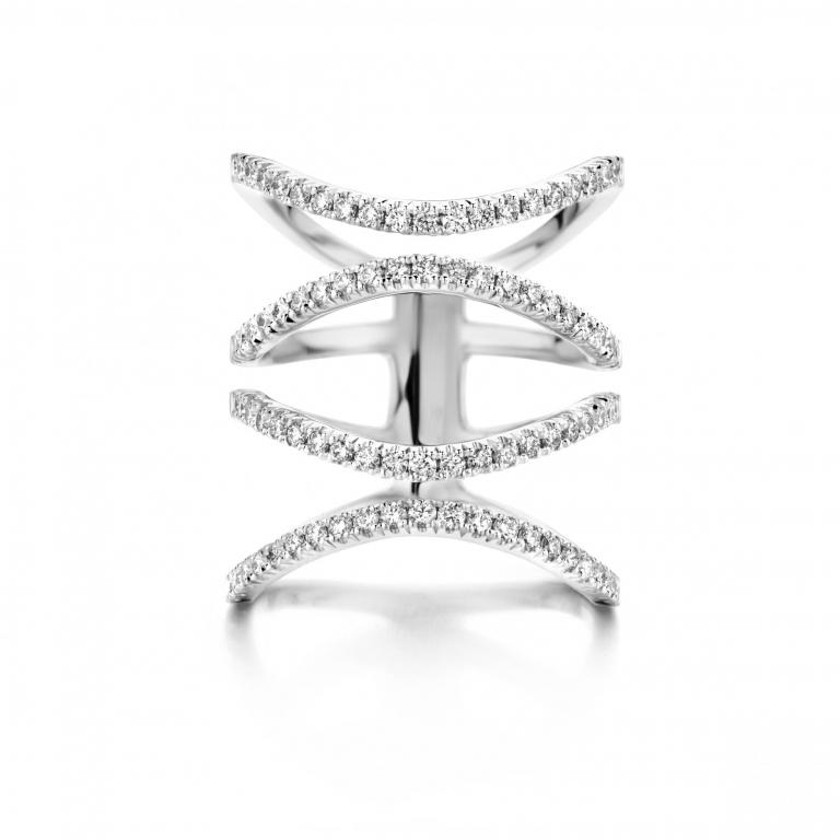 FLOW ring 4 row white diamonds