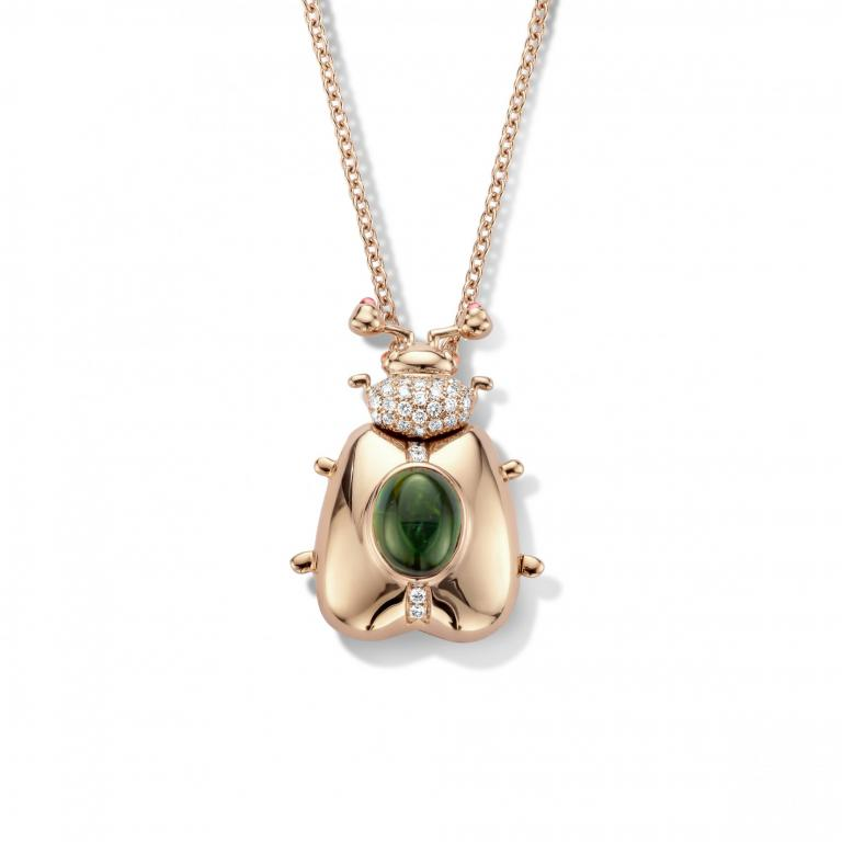 FELICIA beetle green tourmaline pendant and chain - 60 cm