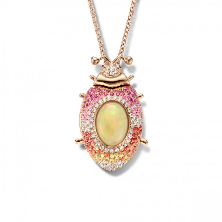 CAMELIA beetle opal, sapphires and diamonds pendant and necklace - 60 cm