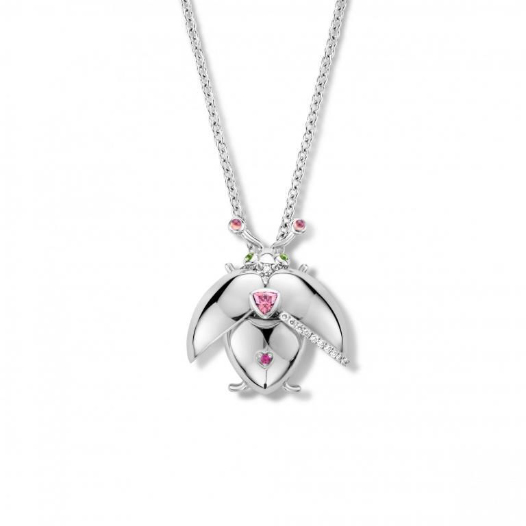 BLISS beetle pink tourmaline pendant and chain - 50 cm - WG