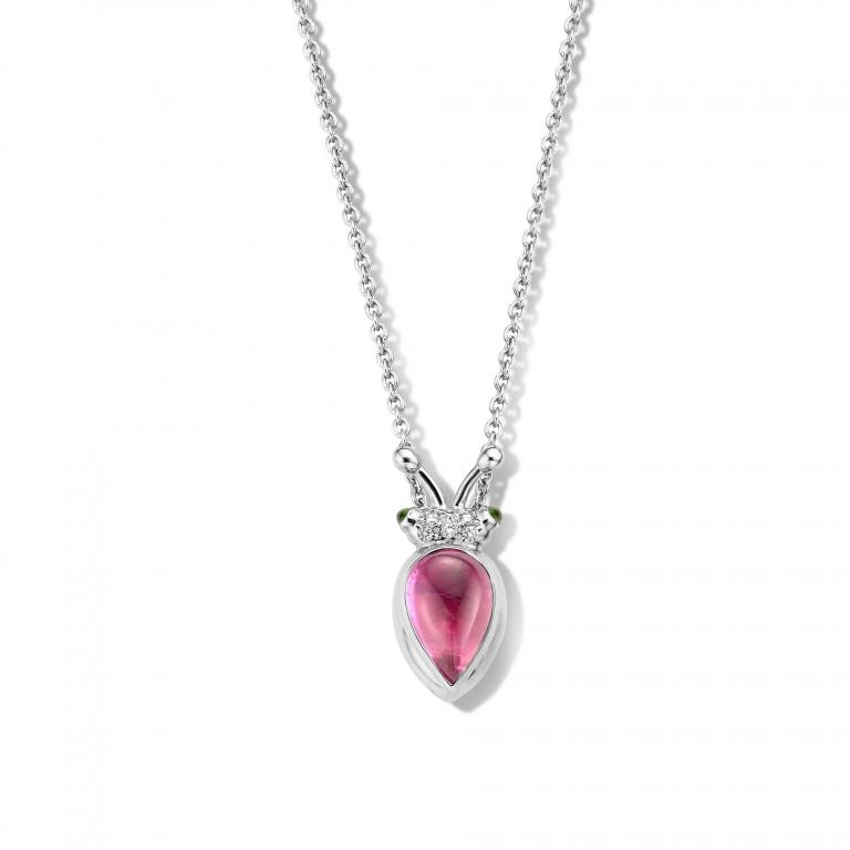 LILLY BEETLE PINK TOURMALINE PENDANT AND CHAIN - 45CM WG