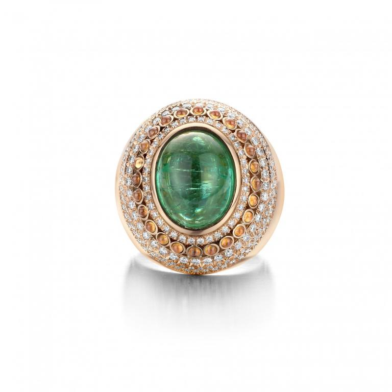 POPPY ring green tourmaline, mandarine garnet and diamonds