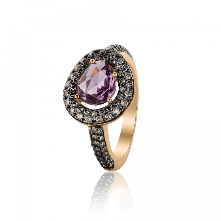 DIDI ring purple sapphire and brown diamonds