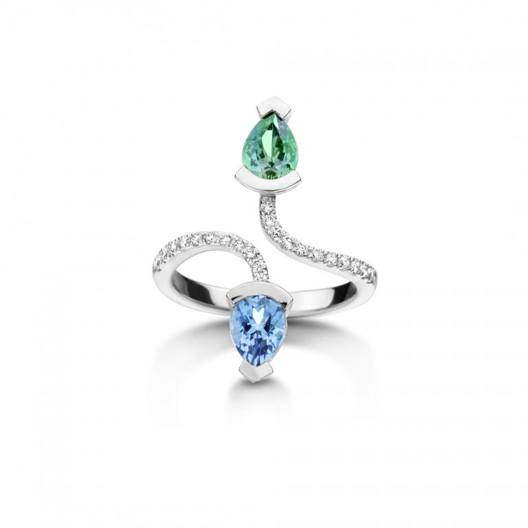 Abby ring mint tourmaline and aquamarine white gold
