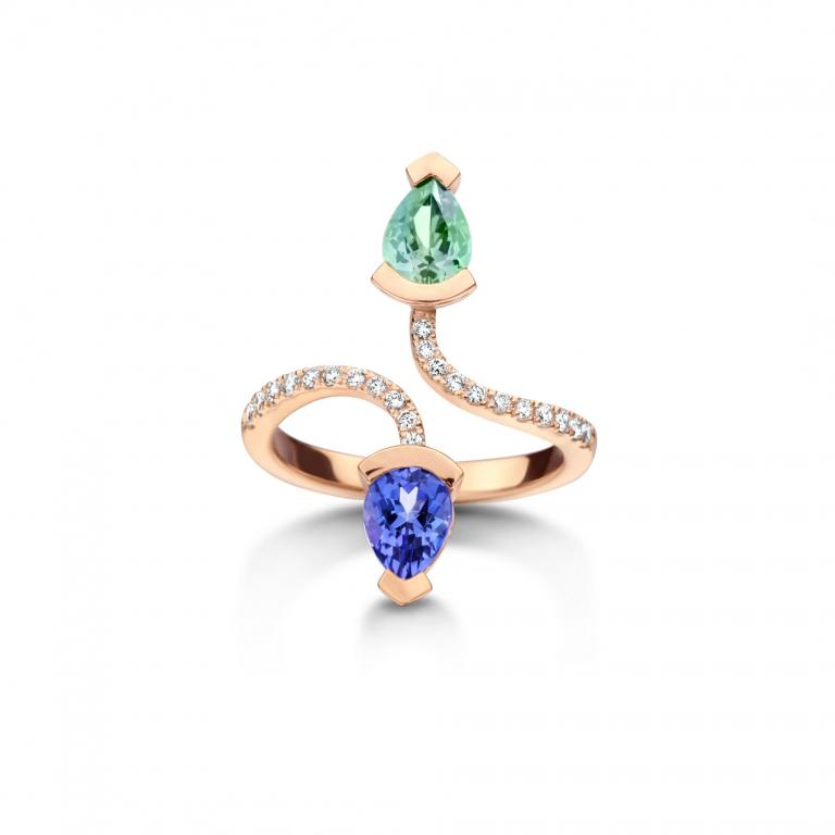 Abby ring mint tourmaline and tanzanite rose gold