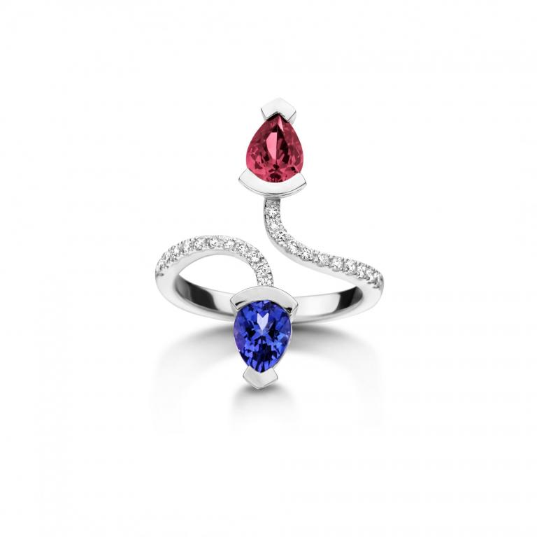 Abby ring tanzanite and pink tourmaline white gold