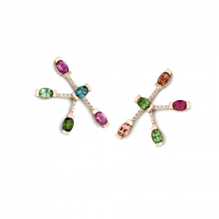 ADELINE tourmaline, morganite & tsavorite earrings