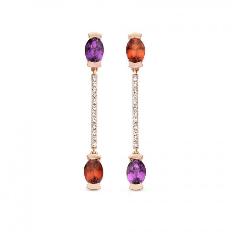ADELINE earrings Royal purple garnet mandarine garnet