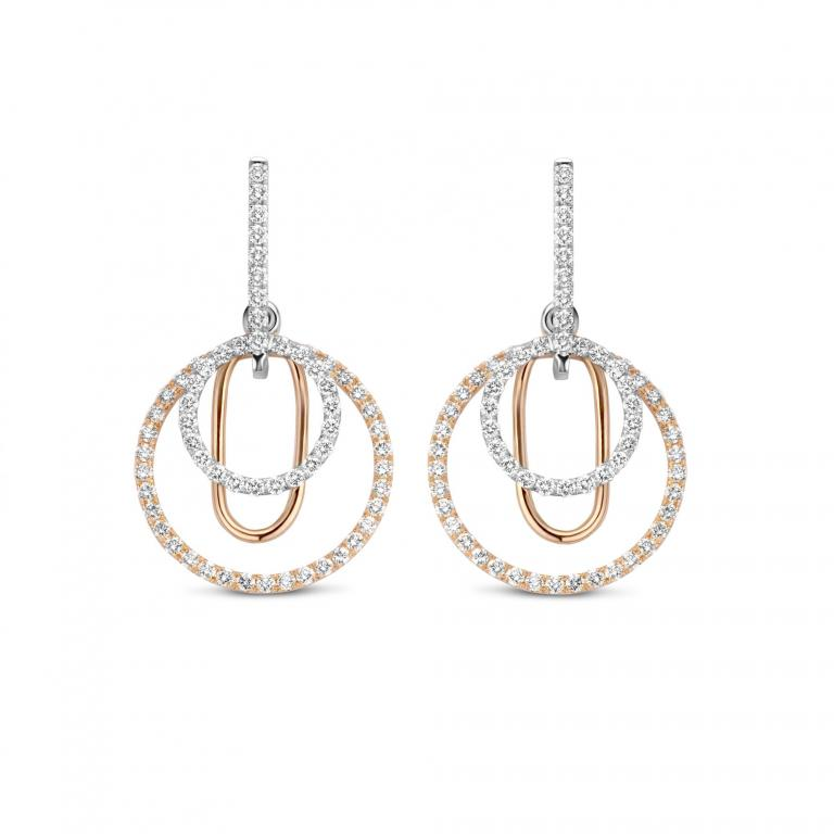 JENA earrings diamonds white & rose gold small