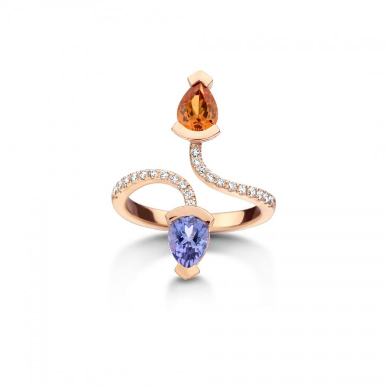 ADELINE ring mandarine garnet and tanzanite