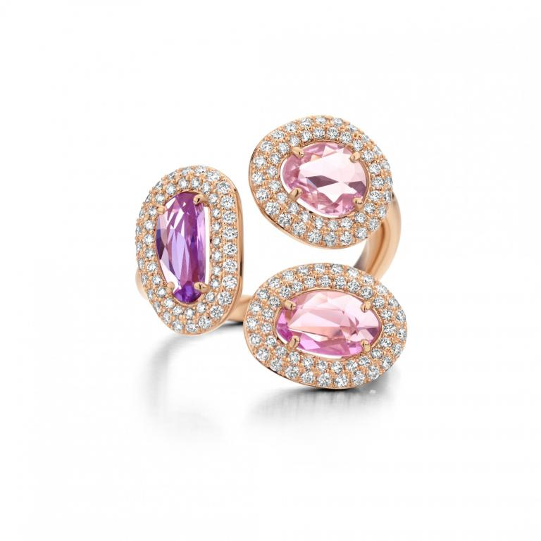 DIDI ring duo of purple and pink sapphires