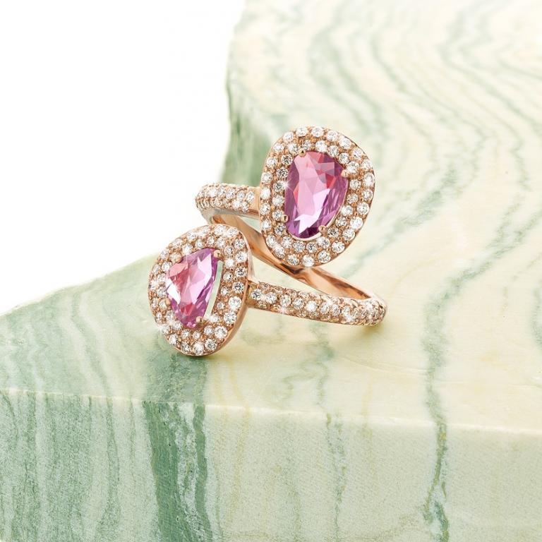 DIDI ring duo pink and purple sapphires