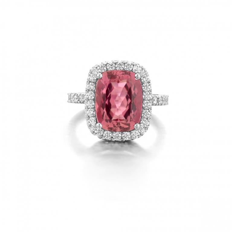 Alaïa ring rubellite cushion tourmaline and pink sapphires