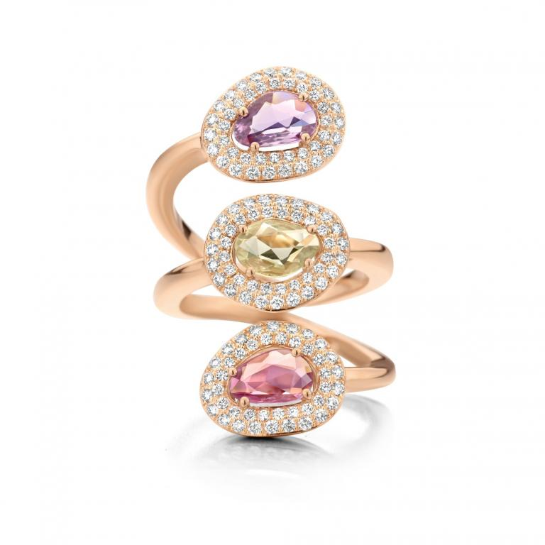 DIDI ring purple, yellow, pink sapphires