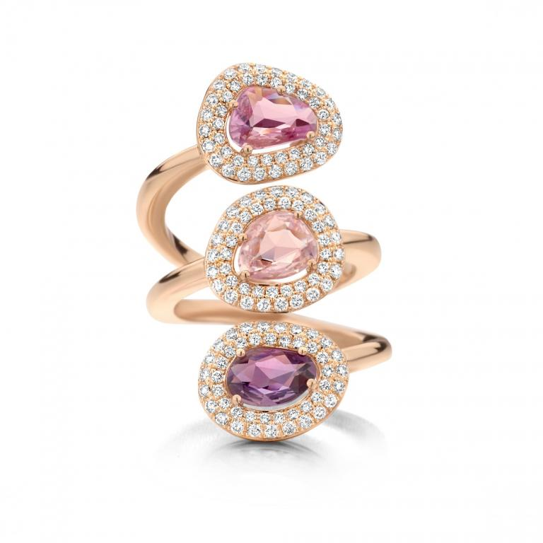 DIDI ring trio of pink and purple sapphires