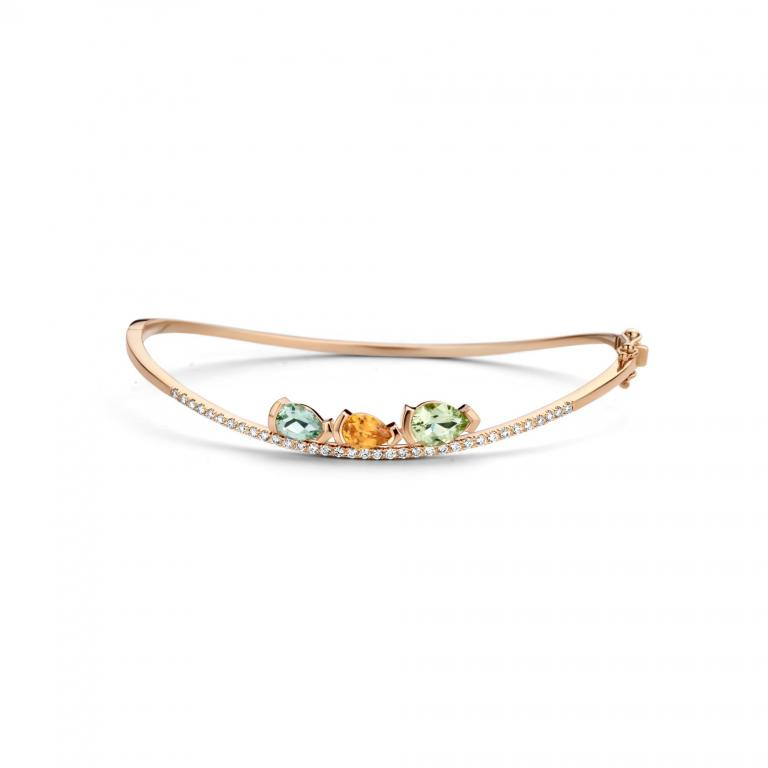 ADELINE bracelet green beryl, mandarine garnet and diamonds