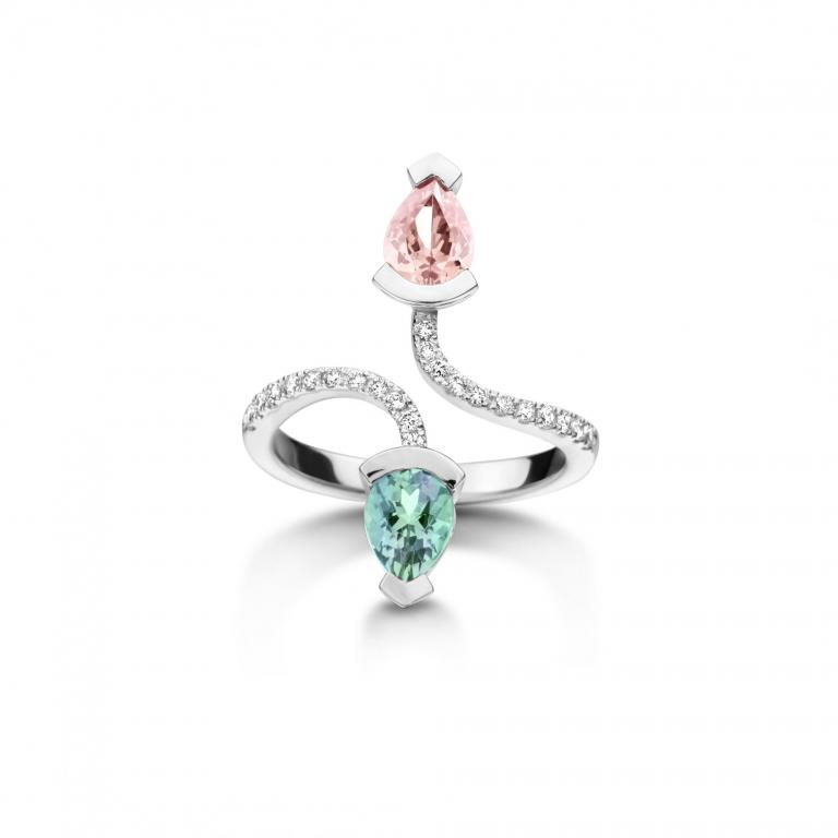 Abby ring morganite and mint tourmaline white gold