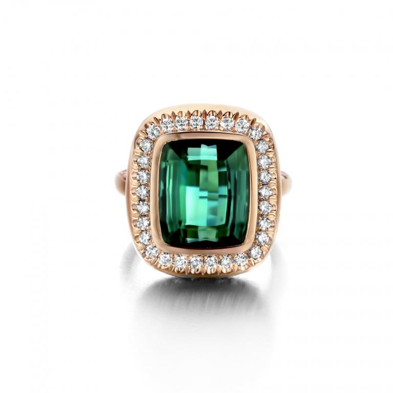 AÏDA ring green tourmaline and diamonds