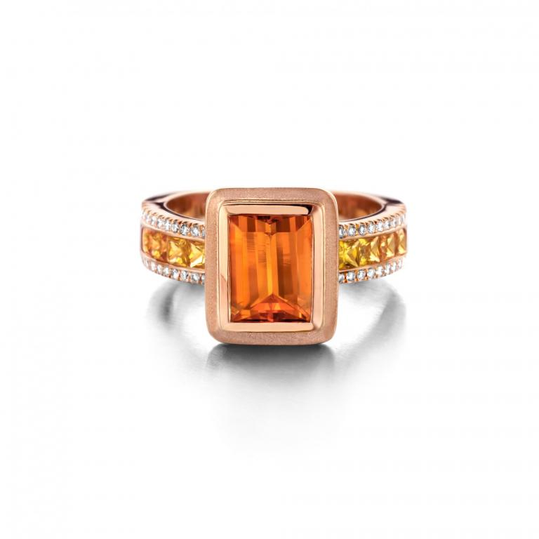 GRACE ring mandarine garnet, orange and yellow sapphires