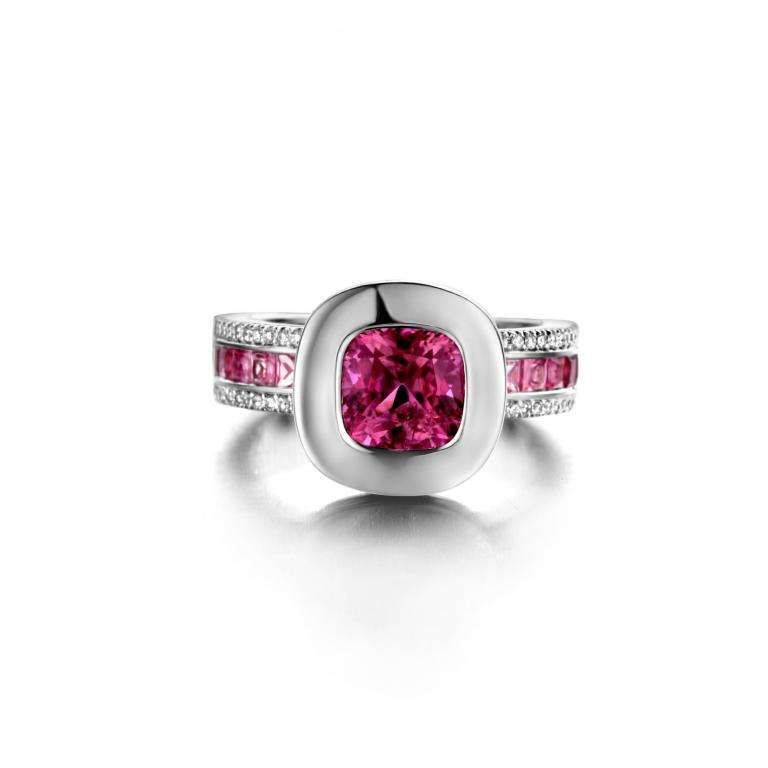 GRACE ring pink tourmaline, pink sapphires and diamonds