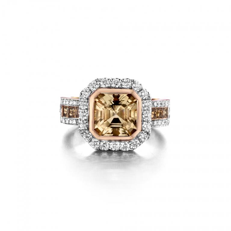 SARA ring champagne tourmaline, brown and white diamonds