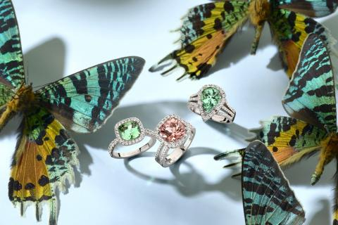 Butterfies with 3 tourmaline rings