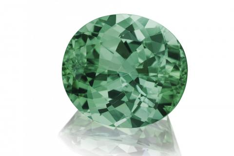 Green oval tourmaline